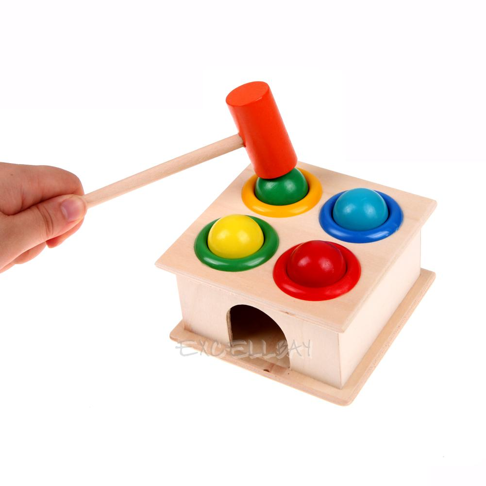 Hammer Game Toy : Hammering wooden ball hammer game kids children early