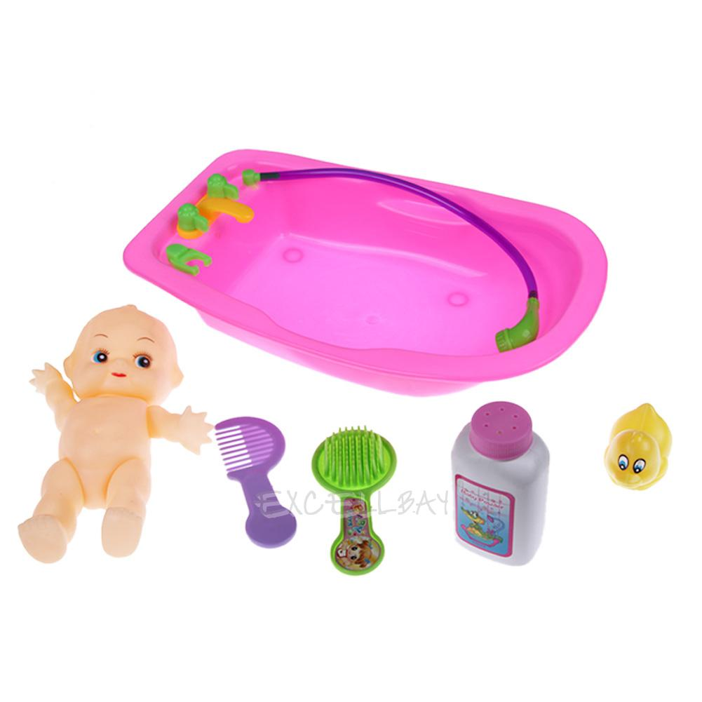 baby doll in bath tub bathing with duck bathroom set kids toddler pretend play ebay. Black Bedroom Furniture Sets. Home Design Ideas