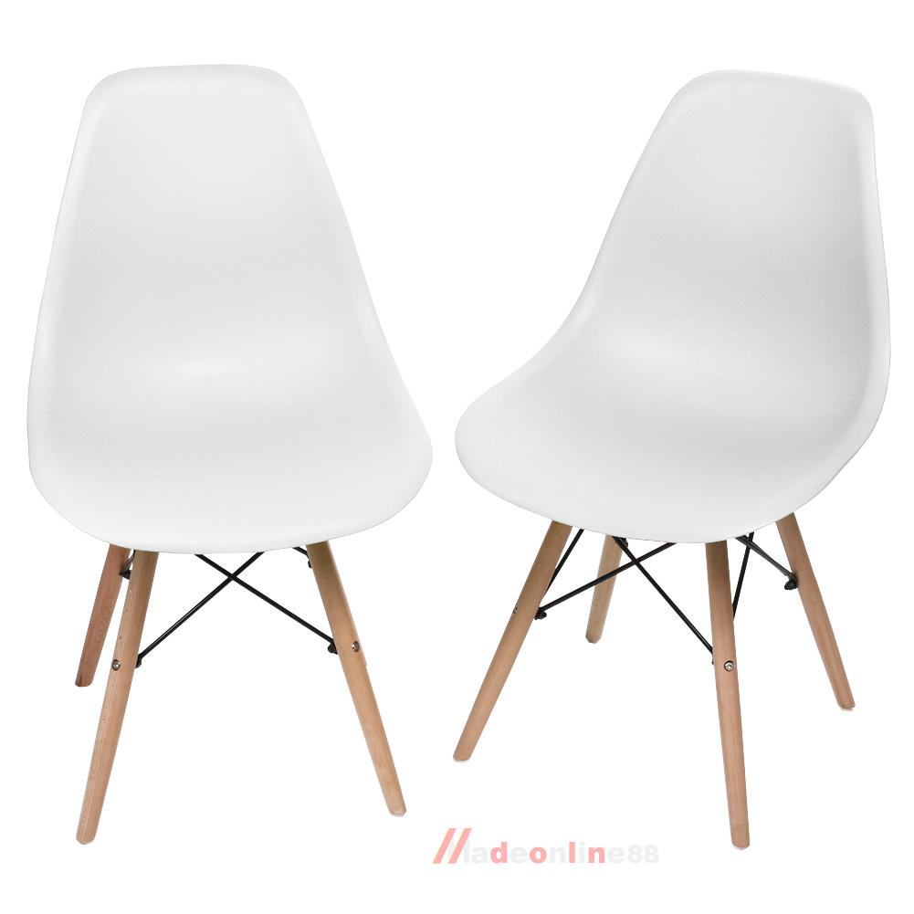 2pcs eames wooden leg plastic chair seats for dining office coffee