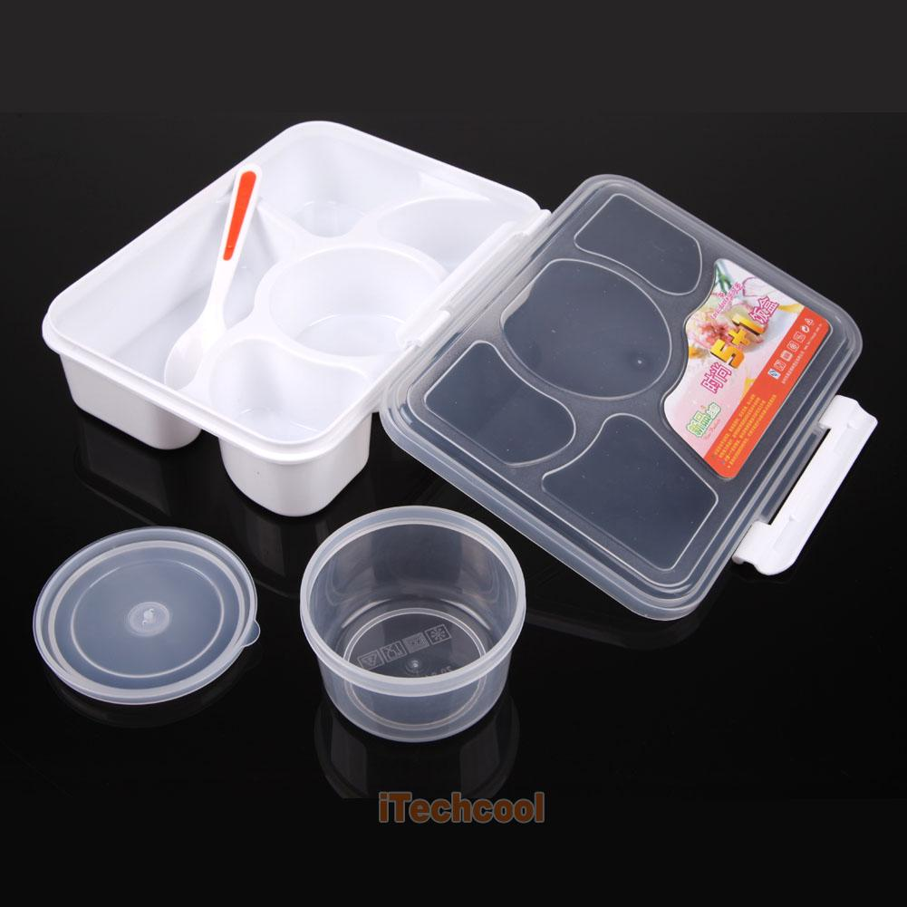 lunch box food soup container storage 5 compartment portable bento box spoo. Black Bedroom Furniture Sets. Home Design Ideas