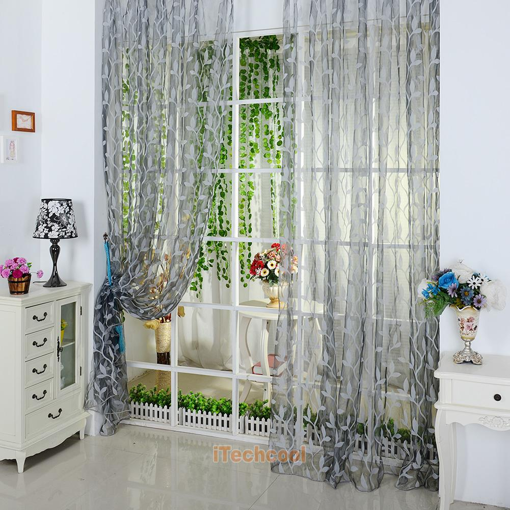 Chic Leaf Floral Sheer Window Curtain Door Drapes Room