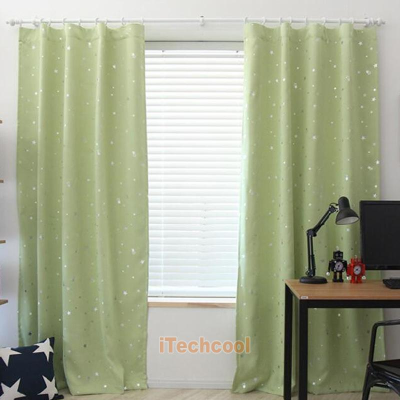 Star print window curtain blackout thermal entire shade for Thermal star windows