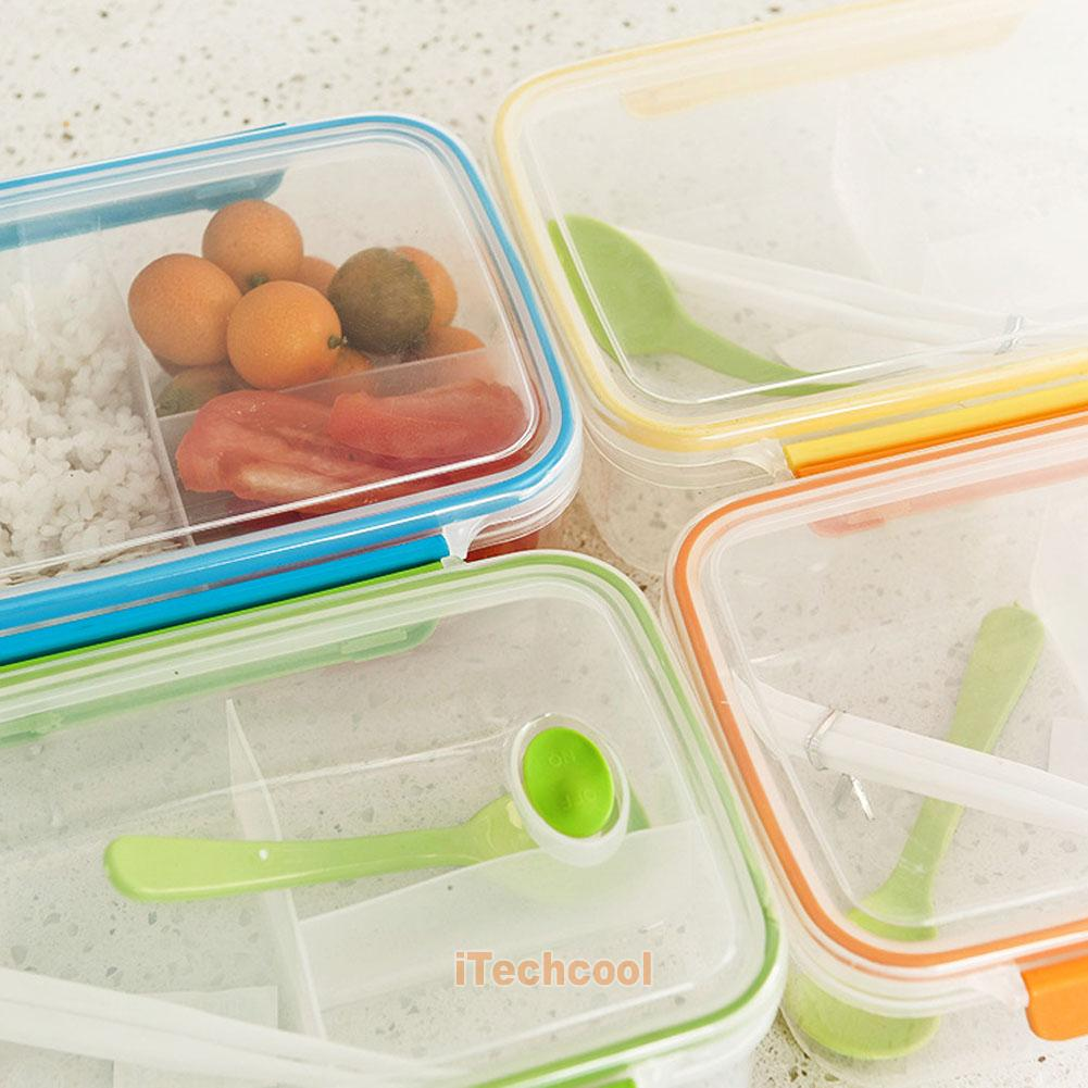 transparent three compartments lunch bento box food snack. Black Bedroom Furniture Sets. Home Design Ideas