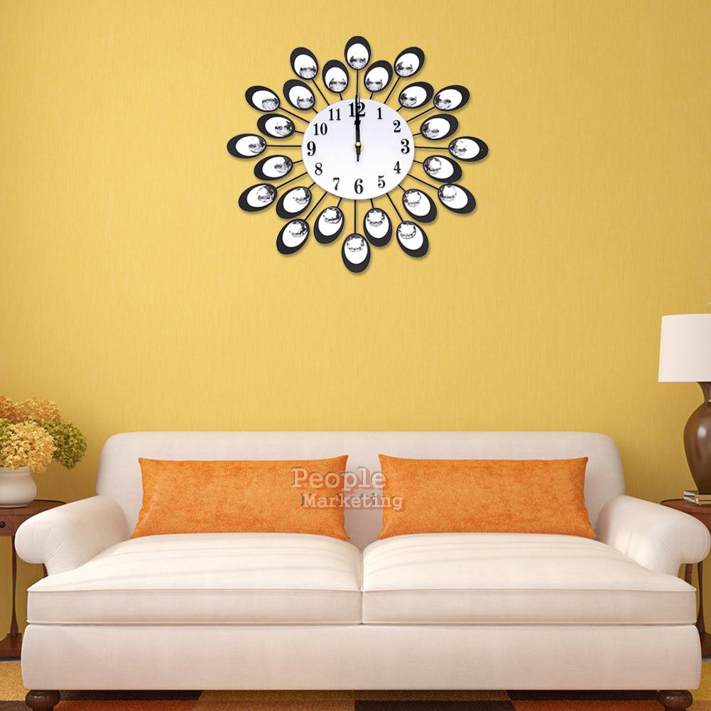 diamond peacock wall clock metal living room hanging large art clocks