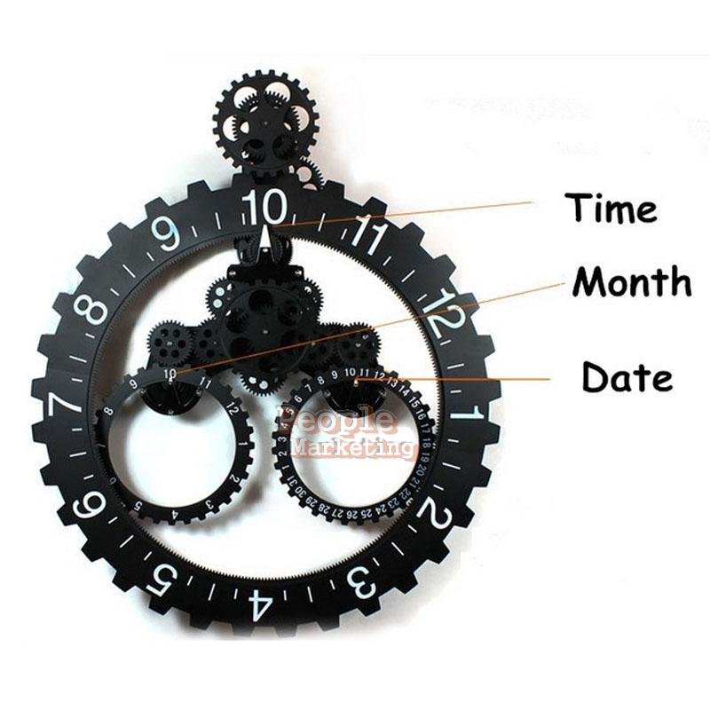 vintage large mechanical gear wall hanging art clock