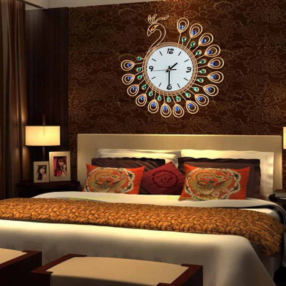 wanduhr retro metall analog uhr diamant pfau design wohnzimmer deko neu ebay. Black Bedroom Furniture Sets. Home Design Ideas