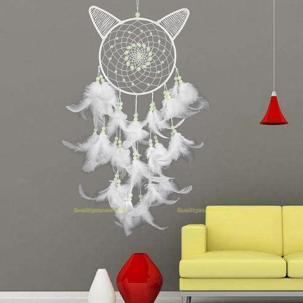 traumf nger wei feder indianer katzenohren geschenk nachtleuchtend dreamcatcher ebay. Black Bedroom Furniture Sets. Home Design Ideas