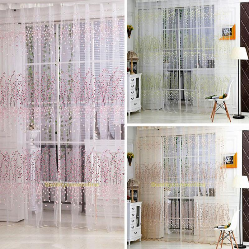 transparent schlaufenschal gardinen t r fenster voile vorhang dekoschal neu ebay. Black Bedroom Furniture Sets. Home Design Ideas