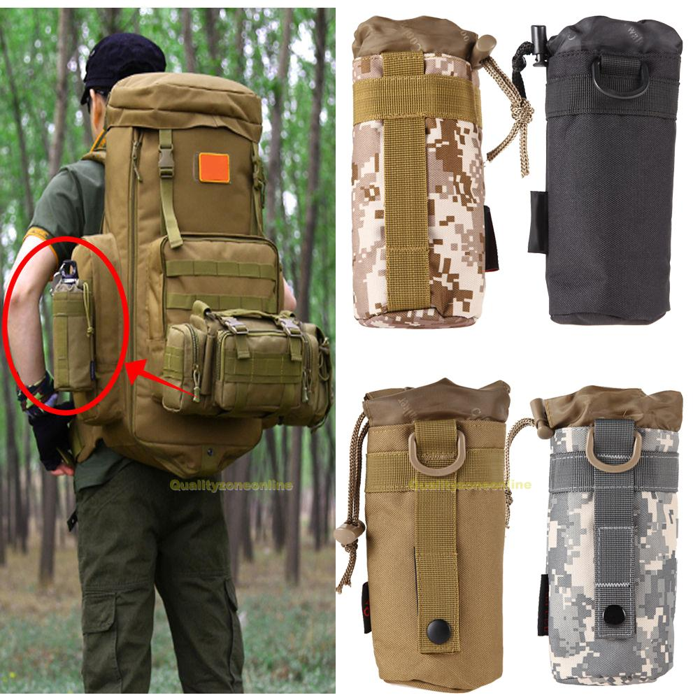 Sports Tactical Water Bottle Military Pouch Holder Carrier Molle Kettle Bags
