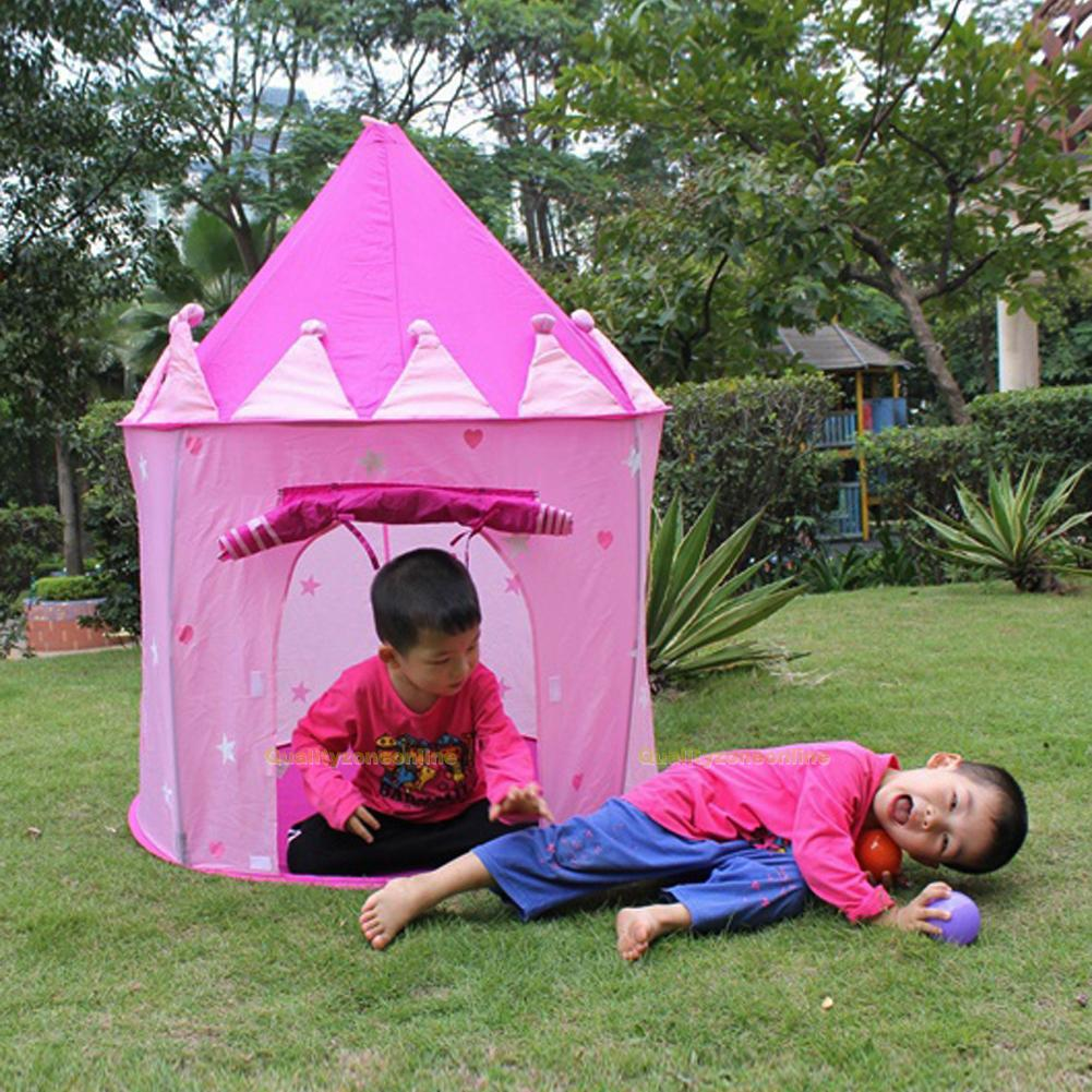 Does not apply & Portable Pink Pop Up Play Tent Kids Girl Princess Castle Outdoor ...