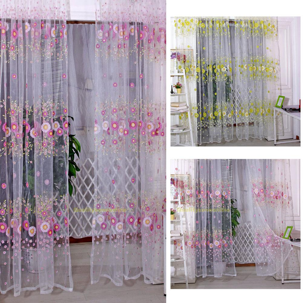 sonnenblume voile vorh nge gardinen tulle fenster schlafzimmer dekor 100x200cm ebay. Black Bedroom Furniture Sets. Home Design Ideas