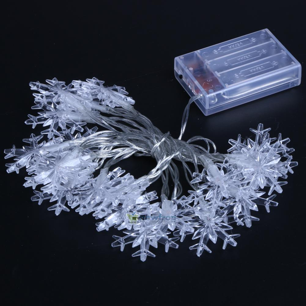 2.3M Christmas 20 LED Snowflake Tree Hanging Curtain Fairy Lights String Window eBay