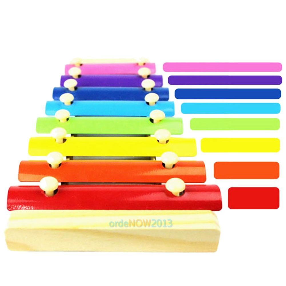 Children kids baby wooden rainbow xylophone learning
