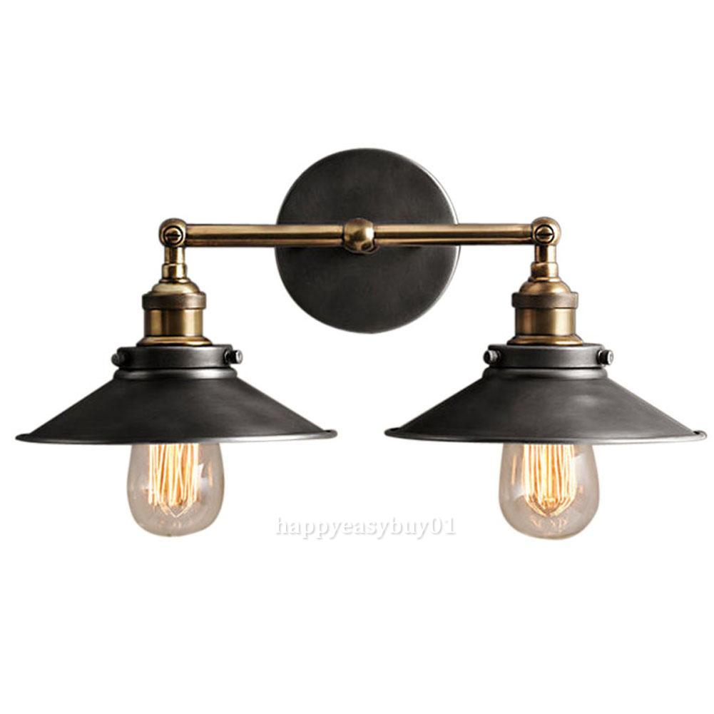 Vintage Wall Lights Double : MODERN VINTAGE INDUSTRIAL LOFT METAL DOUBLE RUSTIC SCONCE WALL LIGHT WALL LAMP