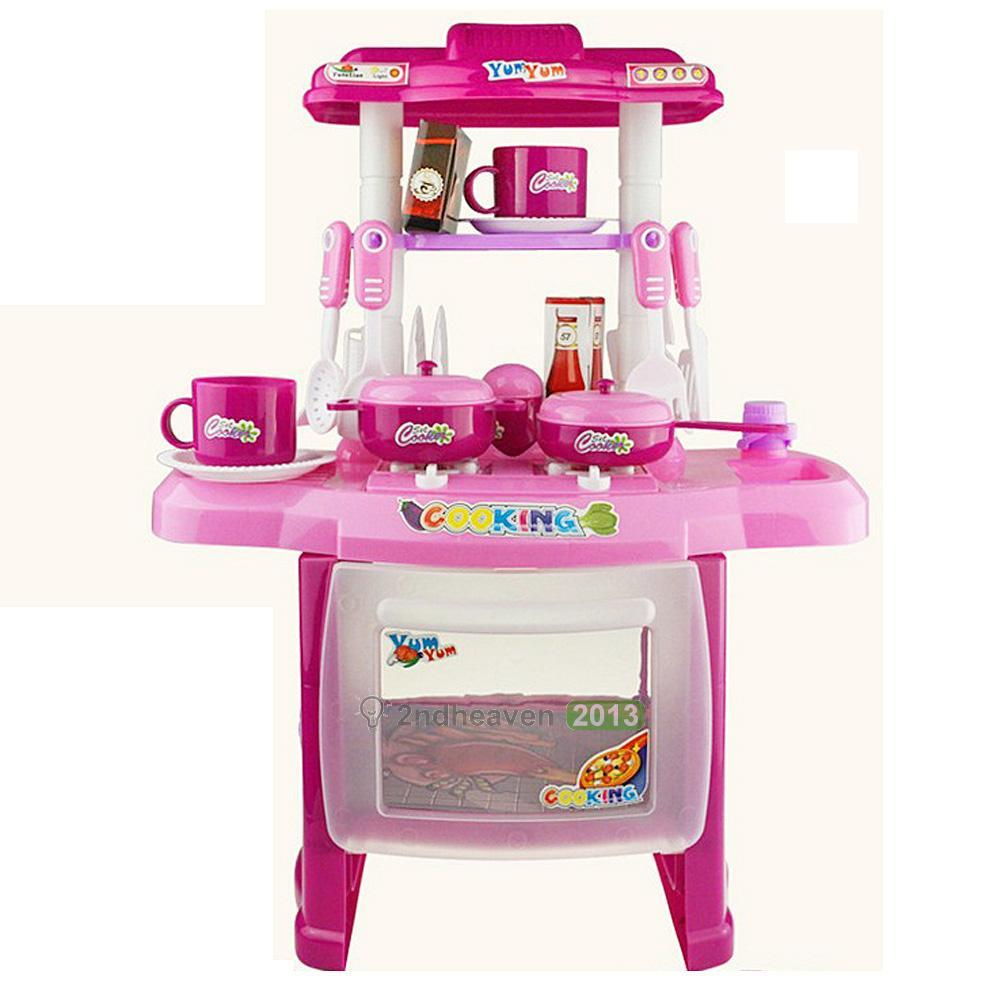 Pink Deluxe Children Kids Kitchen Cooking Pretend Play Toy