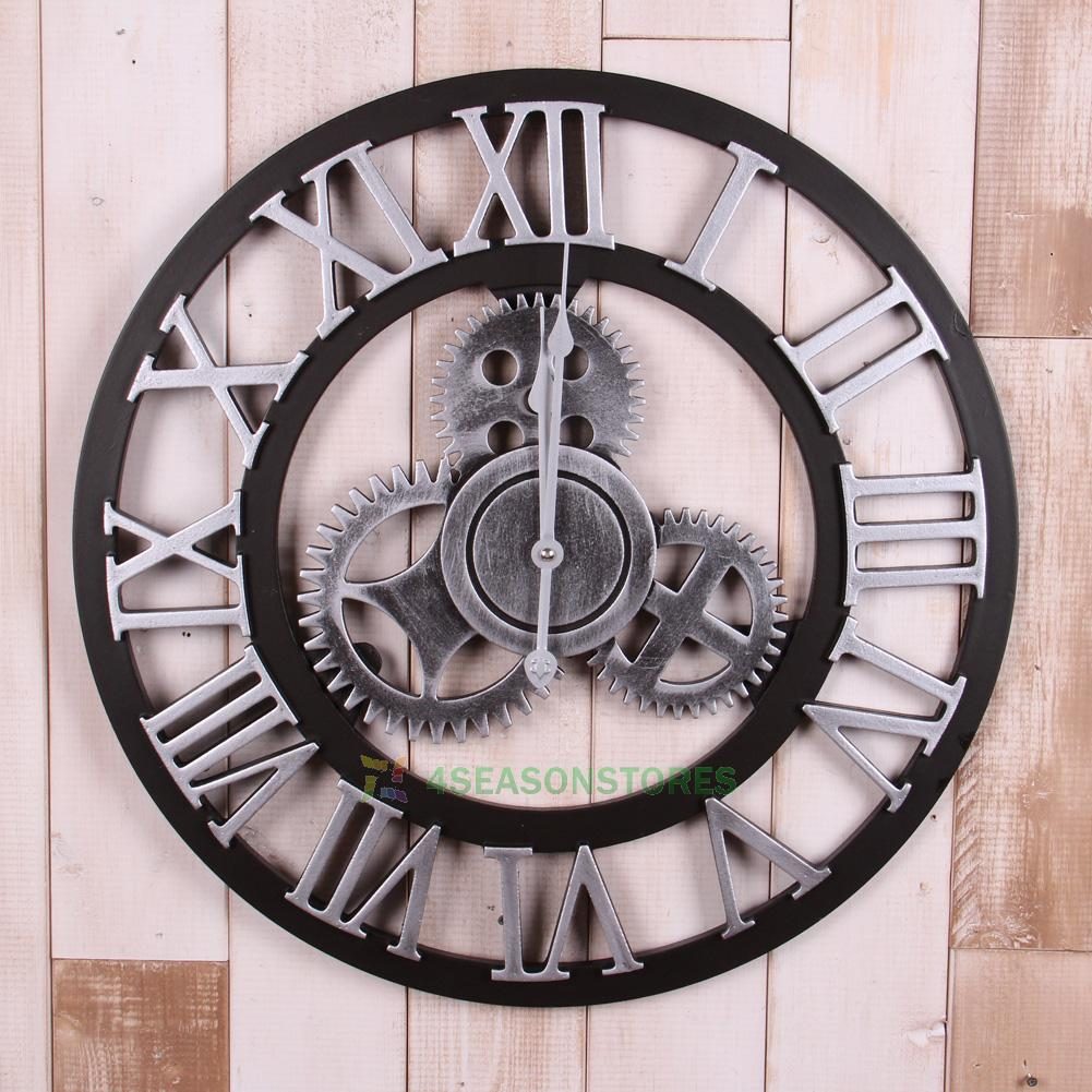 handmade oversized 3d retro rustic big gear wooden vintage wall clock gift ebay
