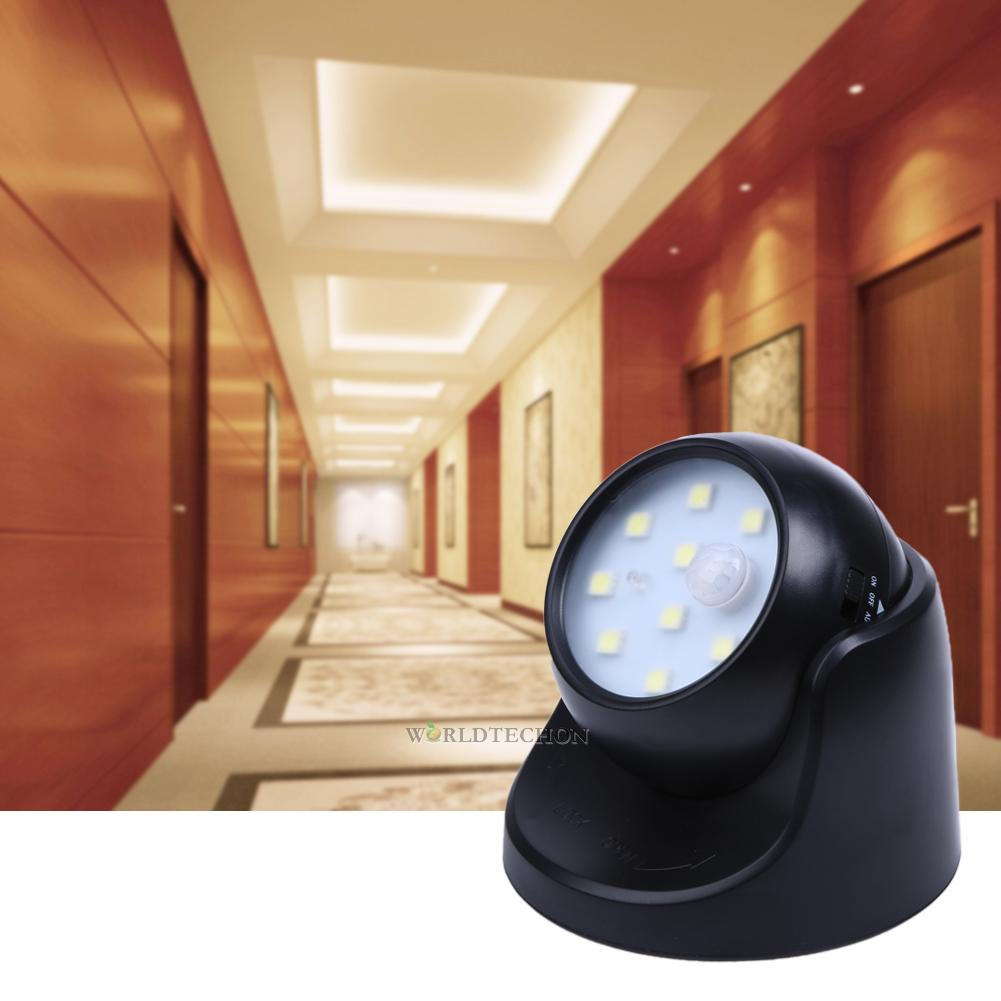 9 led motion sensor detector security wireless night light. Black Bedroom Furniture Sets. Home Design Ideas