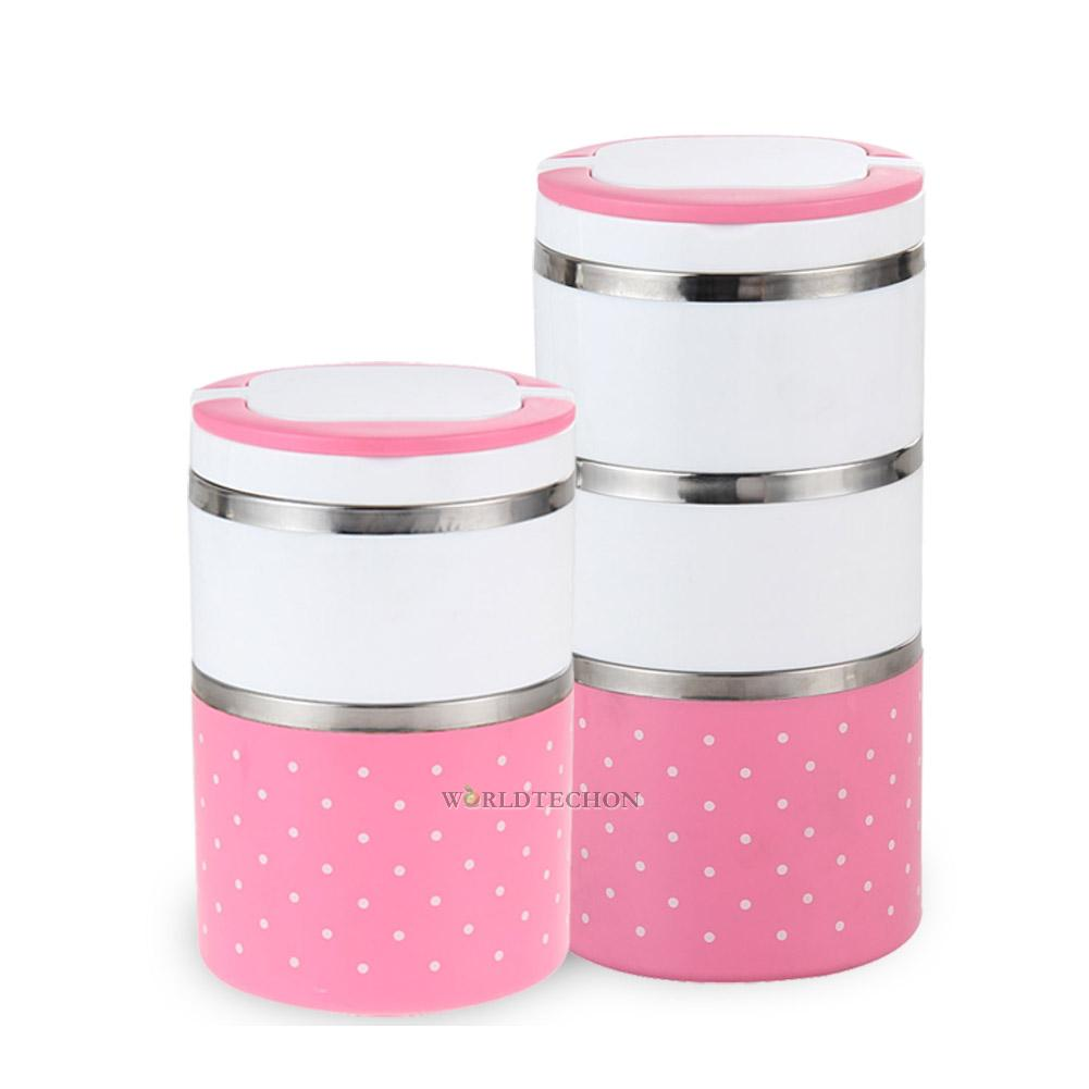 2 3 layer cute stainless steel lunch box insulation bento food picnic container ebay. Black Bedroom Furniture Sets. Home Design Ideas