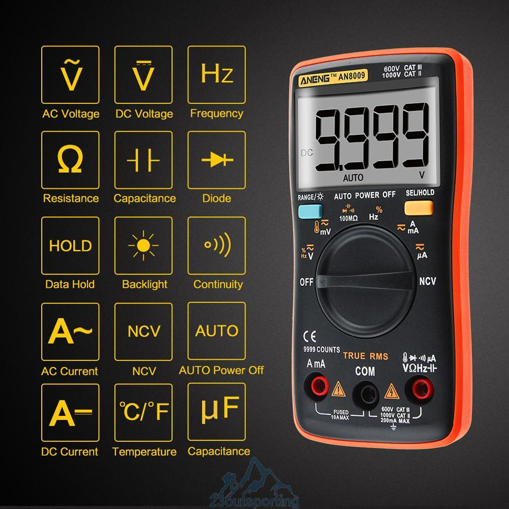 True Rms Meter : Digital an true rms auto range multimeter ncv ohmmeter