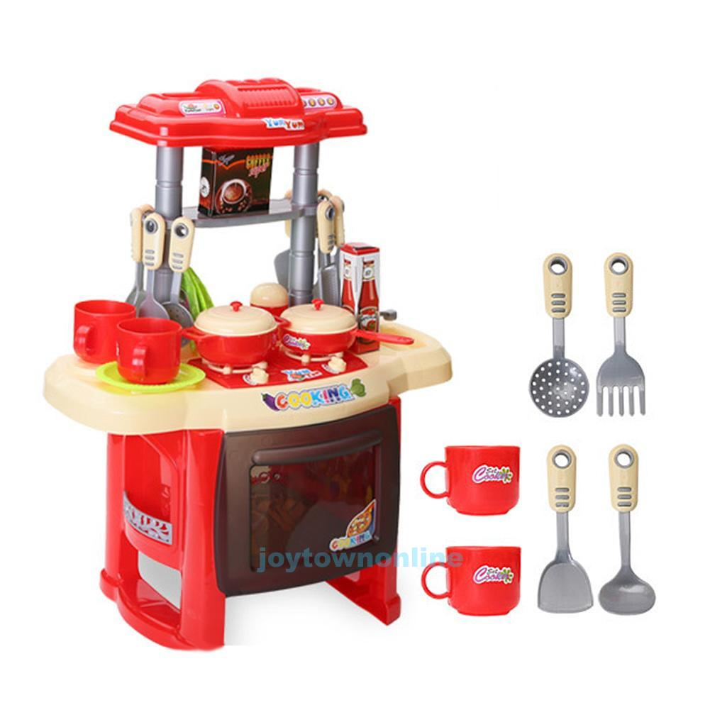 kids kitchen cooking electronic pretend play toy set with