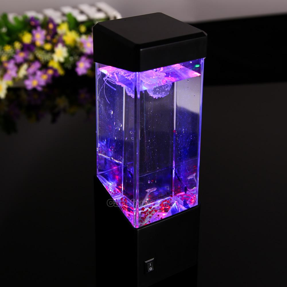 Retro aquatic mini jellyfish tank led water lamp mood for Jellyfish lights